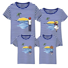 New design family clothing Spring Autumn Short sleeve Stripe father daughter girl boy T-shirt family matching clothes VB2-D(China)