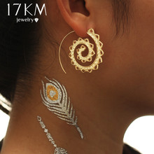 17KM Ethnic Jewelry Swirl Hoop Earring for Women Brincos 2 Color Geometric Earrings Steampunk Style Party Jewelry Accessories(China)