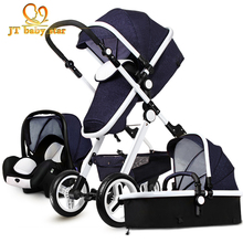 In Stock 7 color Gold Baby stroller two-way suspension folding newborn baby stroller centenarian 3 in 1 European stroller(China)
