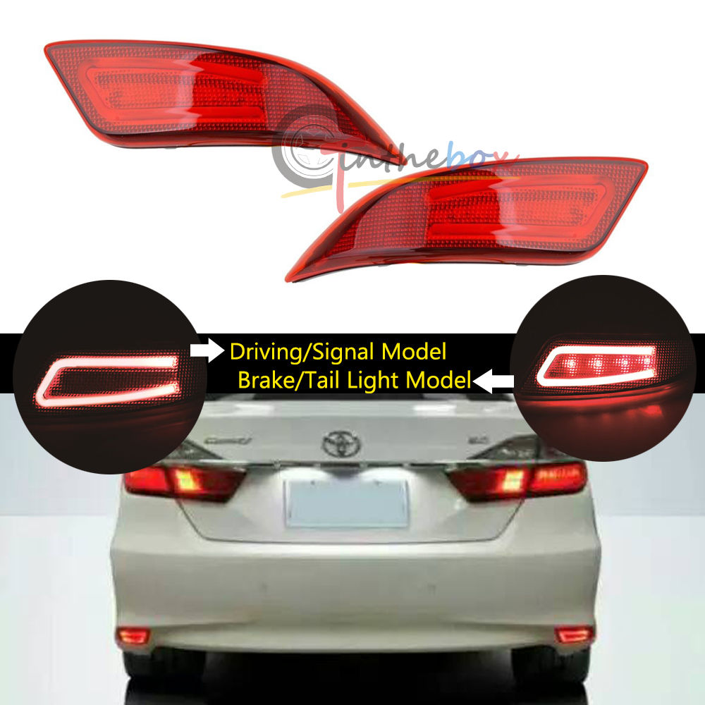 2 Red 3D Optic LED Bumper Reflector Tail Brake Lights For 2015 2017 Toyota Camry<br><br>Aliexpress