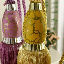 Free Shipping One Pair Curtain Tieback Strap Ball Curtain Accessories Hanging Tassel 10 Colors Purple Golden Brown(China)