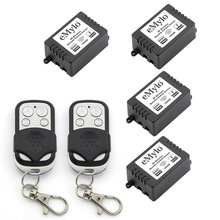 RF AC 220V 1000W 2X 4-buttons Black-sliver Transmitter 4X 1 Channel Relays Smart Wireless Remote Control Light Switch 433Mhz