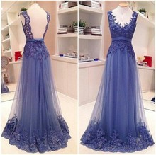 Elegant Backless Lavender Lace Prom Dress Plus Size Women A Line Appliqued Long Formal Evening Dresses vestido de festa