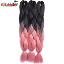 "Alileader 2Pcs/Lot 24"" 3 Toned Jumbo Kanekalon Ombre Synthetic Braiding Hair, 100G High Temperature Braids Hair Extension"