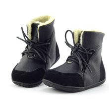 Size EU 22-33 2016 New Kid      Boots Boys Leather Child Winter Shoes Warm Plush Lace-Up Kids Martin Snow Boot CS562