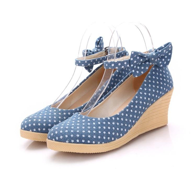 Jean cloth canvas ladies shoes fashion wedges platform pumps for women casual  office buckle strap ladies marry jeans shoes<br><br>Aliexpress
