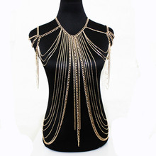 Buy Steampunk Halter Lingerie Sexy Showgirl Shoulder Necklace Exotic Bra Chain Harness Slave Full Jewelry Bodychain Duftgold