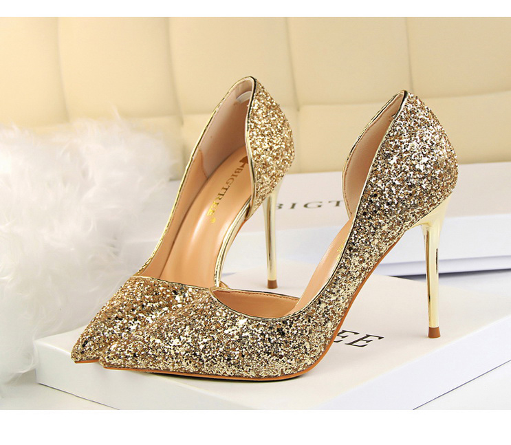 Women Pumps Sexy Glisten Women Shoes Wedding Party Dress Heels Women Hollow Shallow Mouth High Heels Stiletto 868-8 4
