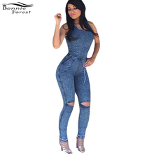 Bonnie Forest Womens Slim Playsuit Jeans Romper hole Long Bandage Jumpsuit 2017 sexy Sleeveless knee slit jean bodycon jumpsuit