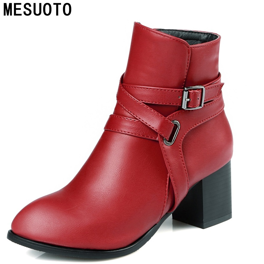 MESUOTO Casual Square High Heels Round Toe Zip Belt Gladiator Roman Ankle Womens Motorcycle Boots Autumn Spring Shoes for Woman<br><br>Aliexpress
