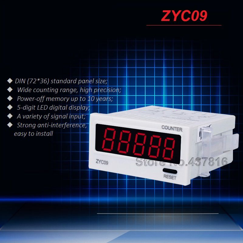 5-digit LED Digital Display Counter Addition Counting 10 Years Power-off Memory Wide Counting Range ZYC09<br><br>Aliexpress