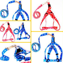Free Shipping HOT Small Dog Pet Puppy Cat Adjustable Nylon Harness with Lead leash 5 Colors