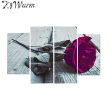 4Pcs/set Plum Purple Rose Floral Flower Canvas Painting Black White Wall Art Picture For Home Living Room Hotel Decor No Frames