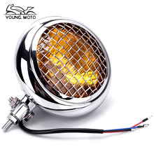 "6 inch 3/4"" Vintage Grill Headlight Chrome Motorcycle Amber Lens LED Round Retro Lamp for Harley XL883 1200 X48 Dana Soft Tail"