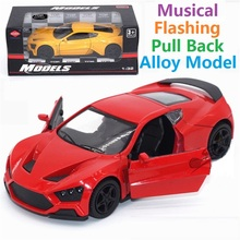 Pull Back & Flashing & Musical Alloy Sports Car Model BEST Gift for Children Toys,Educational Mini Model Cars toys Free shipping