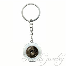 Achromat Lens Black White Photography Locket Key Ring Camera Glass Locket Pendant Keychain Camera Key Chains for Photographer