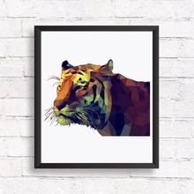 Geometric Tiger Head Canvas Print Wall Pictures , Polygonal Animal Tiger Graphic Canvas Painting Poster Wall Decor