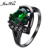 JUNXIN Heart Shaped Engagement Ring Black Gold Filled Cubic Zircon Green Stone Rings For Women Girl Jewelry Gift Anel