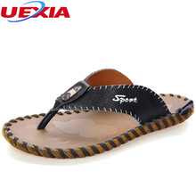 Buy UEXIA Summer Handmade Flip Flops Breathable Leather Beach Walking Comfort Slippers Men Solid Breathable Leisure Shoes Men Flats for $25.37 in AliExpress store