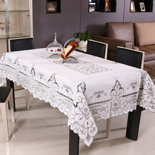 White tablecloth tulle hollow lace square table cloth anti - oil European polyester waterproof dining chair cloth new products