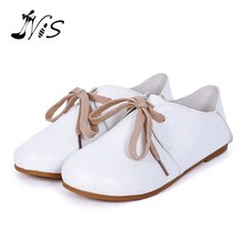 NIS PU Leather Round Toe Retro Women Shoes Casual White Shoes Spring Literary & Artistic Style Lace-up Female Flats Footwear