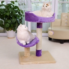 Purple Cat Toy Scratching Post Wood Climbing Tree Ball Cat Toy Climbing Frame Cat Furniture Scratching Post for Fun High Quality