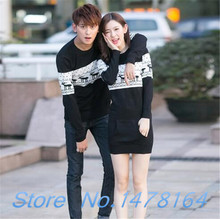 New Winter Deer pattern couple  Men's /Women matching christmas sweater /dress love valentine Red/ Black Free shipping