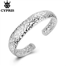 SALE 2017 Super Deal B144 C Cuff silver Hollow Bangle bracelet CHIC hollow flower Woman Lady Wholesale armband 925 jewelry Fine