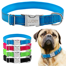 Reflective Nylon Personalized Dog Collars Custom Pet Tag Collars Engraved With Metal Buckle 4 Colors S M L