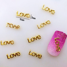 "10Pcs/Lot Japan 3*9mm Gold Letter""love"" 3D DIY Metal Alloy Nail Art Deco Nail Stickers/Charms/ Tools for Manicure"