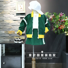 Fine Korean children's clothing boys and girls 2017 autumn new bright color sports cardigan + skirt suit
