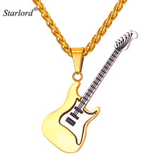 New Enamel Electric Guitar Pendants & Necklaces Black Gun/Gold Color Rope Chain For Men Punk Rock Music Jewelry For Gift GP2102