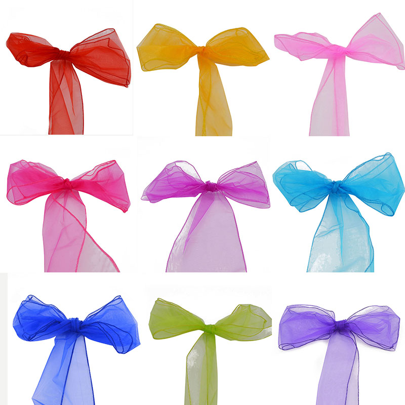 1Pcs 16CM*275CM Sheer Organza Tulle Paper Wedding Chair Bows Swag Table  Runners Wedding Decoration
