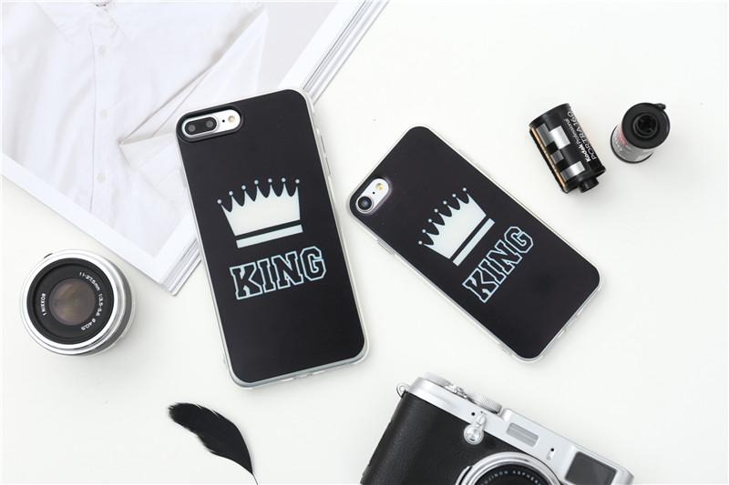 Valentine KING Queen Case for iPhone 6 Case for iPhone 5s 5 Cover Clear Silicone TPU Soft Phone Case for iPhone 8 7 6s Plus Cape 11