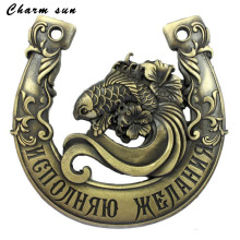 "Creative gift.antique gold plated horseshoe.cute fish design metal craft & souvenir.house ornaments.""Dream come true"" statues"