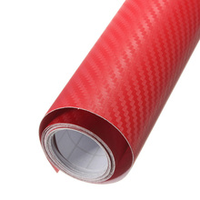 "200mm x 1520mm Red 3D Carbon Fiber Bubble Free Texture Vinyl Sheet Twill-Weave Wrap Film 8""x60"" Sticker Auto Part Body Kit(China)"