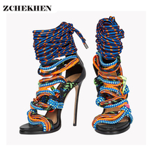 Summer European Hollow-Out color block Woman Sandals Open Toe High Heels 2017 weaving Ankle-Wrap Buckles Handmade Luxury T shows