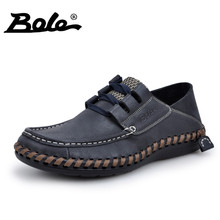 BOLE New Handmade Men Business Casual Leather Shoes Design Superstar Lace Up Genuine Leather Shoes Men Flat Fashion Walking Shoe
