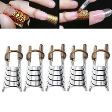 5Pcs Reusable Nail Art C Curved Guide Forms Set Acrylic Crystal French Gel Polish Extended Builder Adjustable Ring Stencil Molds(China)