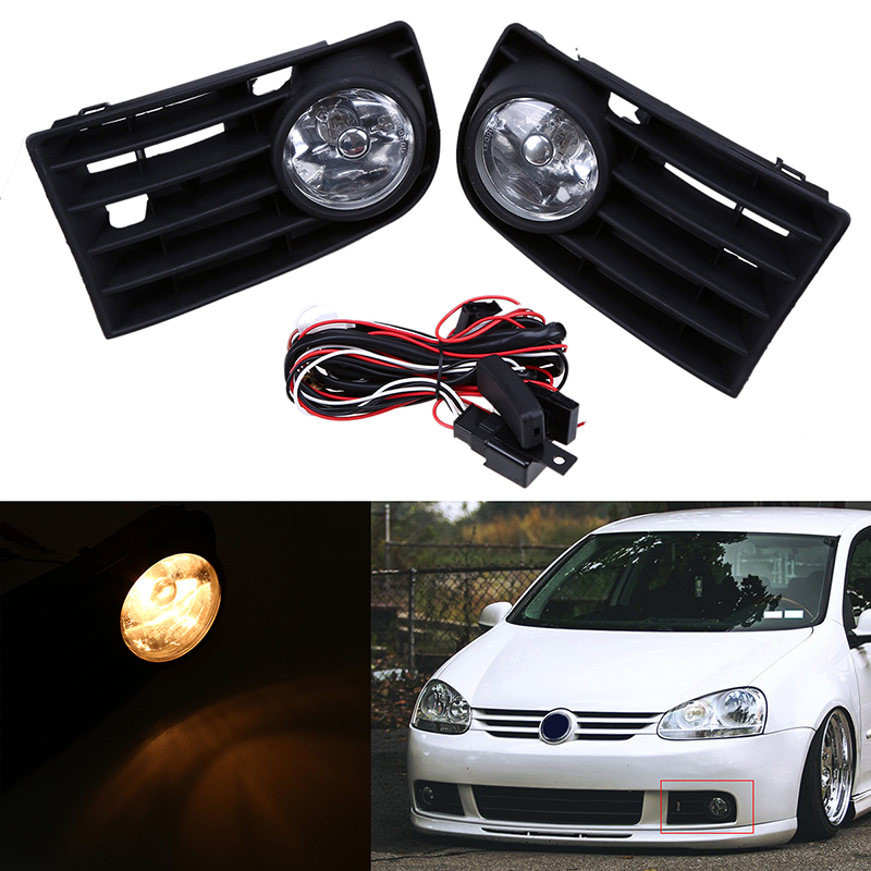 1 Pair Car Front Bumper font b Grille b font Fog Lights With Wire Harness Switch online get cheap volkswagen bora grills aliexpress com alibaba mkv jetta fog light wire harness at soozxer.org