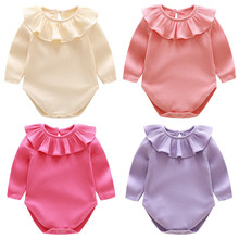 Buy Autumn New Long Sleeve Baby Rompers Ruffles Cotton Knitted Baby Girl Clothes 2017 Newborn Baby Boy Jumpsuit Infant Clothing Set for $5.76 in AliExpress store