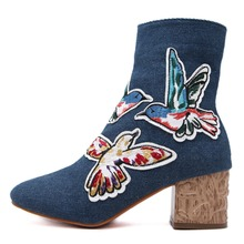KNCOKAR New the autumn of 2017 Fashion cowboy boots high-heeled boots anaglyph thick with female boots fashion and comfortable