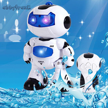 Abbyfrank RC Robot Toy Remote Control Electronic Toy Robot Pet Walking Dancing Lightning Musical Toys For Children Kids Boy Gift(China)