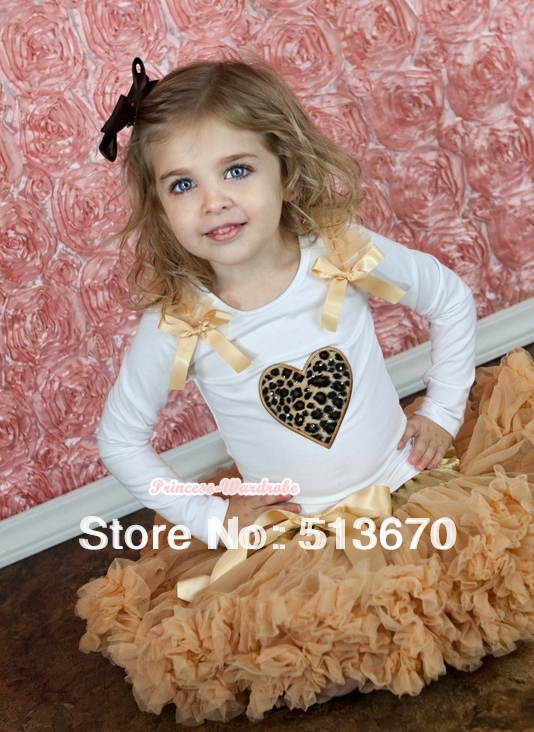 Goldenrod Pettiskirt with Leopard Heart Print White Long Sleeves Top with Goldenrod Ruffles and Goldenrod Bow MAMW127<br><br>Aliexpress