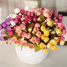 15 Head Artificial Silk Flower Leaf Home Wedding Party Decor Bridal Bouquet Outdoor Decor(China)