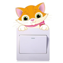 Lovely Cat Switch Stickers Outlets Living Room Decoration Cartoon Animals Mural Art Home Decals Kitten Poster Children Kids Gift