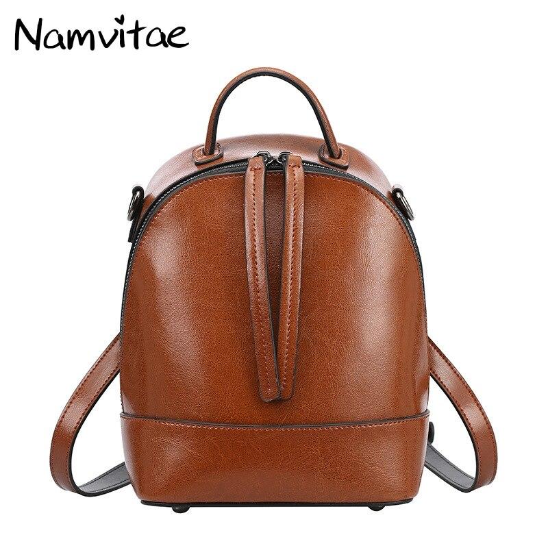 Namvitae Genuine Leather Women Backpack Fashion Design Teenage Girls School Bags Cow Leather Female Backpacks Casual Travel Bag<br>