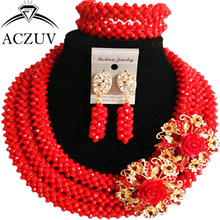 ACZUV Latest Red Crystal Beaded African Jewellery Designs Nigerian Wedding Beads Jewelry Set B3R024