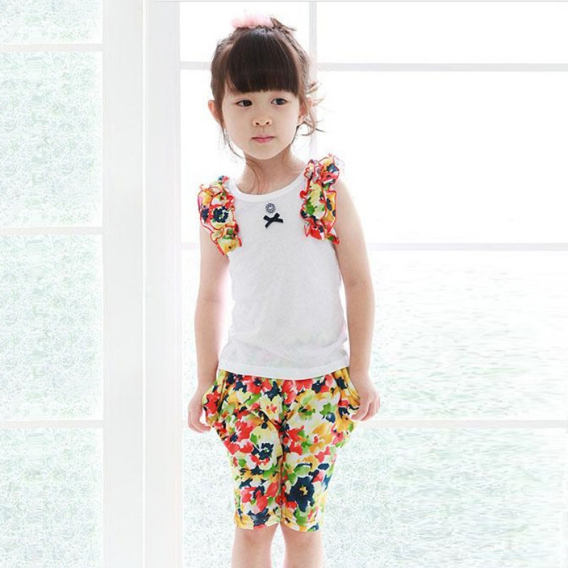 2pcs 2-7Y Girl Clothes Set Kids Cute Cat Pattern Floral T-shirt + Pants Outfits Baby Summer Wear High Quality<br><br>Aliexpress