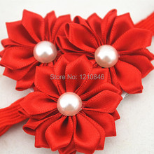 Trail order pearl centre triple satin rosettes flower headbands satin ribbon flower Thin Elastic headbands accesories 8pcs(China)